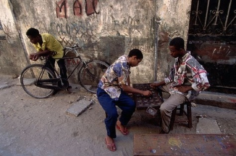 Zanzibarian Men Playing Bao